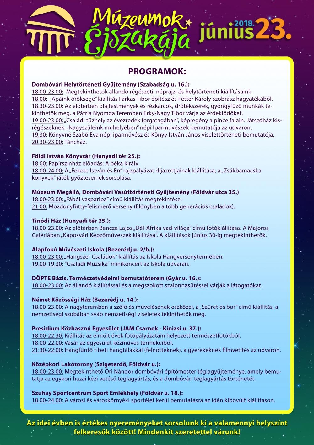 Múzeumok Éjszakája 2018. programok