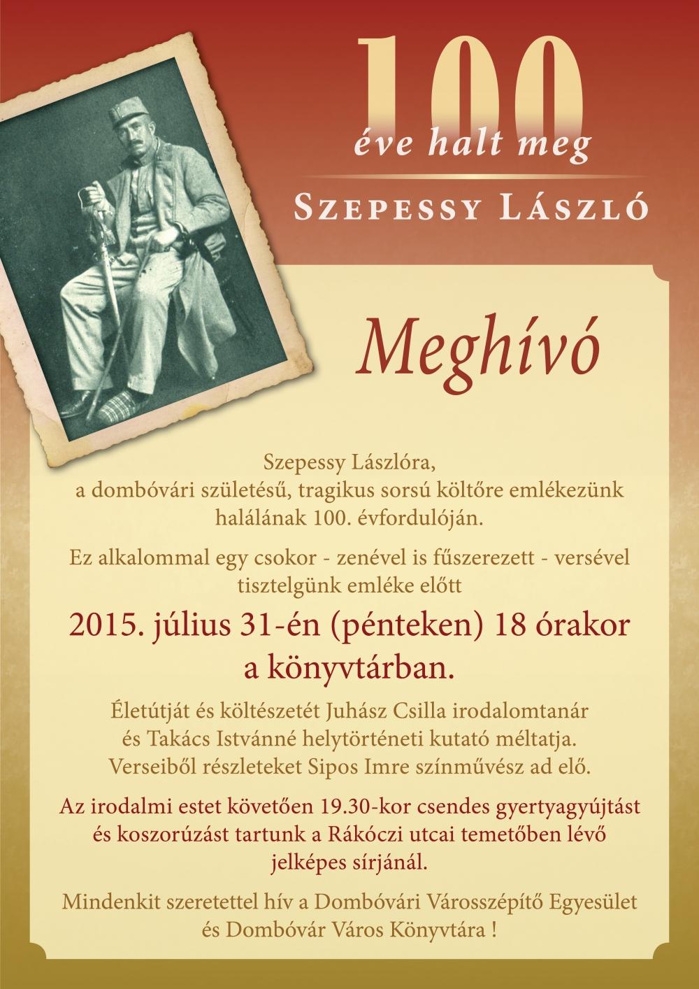 Száz éve halt meg Szepessy László