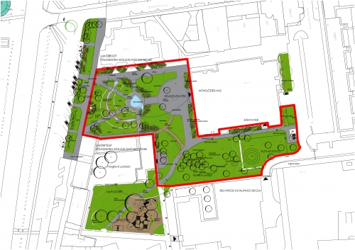 A város új főterén növelni fogják a zöldfelületek nagyságát